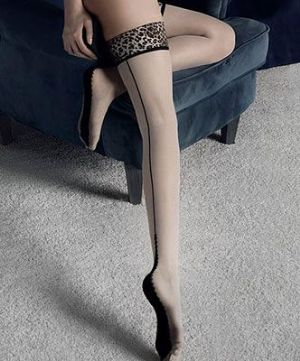 Leopard Print Top Hold Up Stockings, Fiore Lust